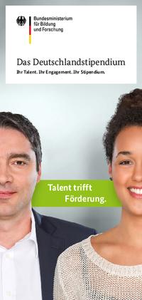 Broschuere des Deutschlandstipendiums 2016 Mann und Frau jeweils halb
